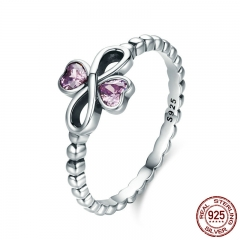 Romantic 100% 925 Sterling Silver Infinity with Heart Luminous Pink CZ Finger Ring Women Sterling Silver Jewelry SCR357 RING-0400