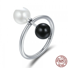 100% 925 Sterling Silver Double Sides Ball Finger Ring Punk Style Female Rings for Women Sterling Silver Jewelry SCR225