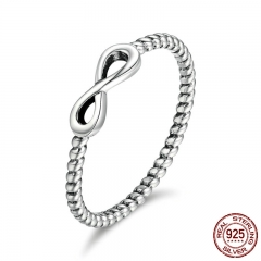 Hot Sale 100% 925 Sterling Silver Trendy Infinity Elegant Finger Rings for Women Wedding Engagement Jewelry Gift SCR094