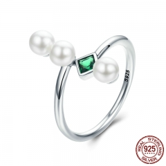 100% Authentic 925 Sterling Silver Green Square Elegant Female Finger Ring for Women Sterling Silver Jewelry SCR262