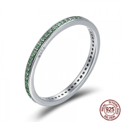 Real 925 Sterling Silver Luminous CZ Light Green Round Female Finger Rings for Women Engagement Jewelry SCR230