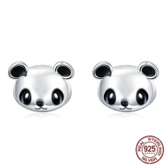 Genuine 100% 925 Sterling Silver Animal Collection Cute Panda Stud Earrings for Women Sterling Silver Jewelry SCE386
