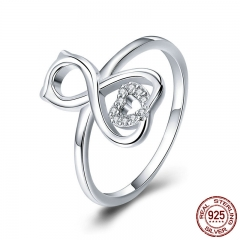 925 Sterling Silver Love Cat With Heart Rings for Women Dazzling Cubic Zircon Wedding Engagement Jewelry Anel SCR417