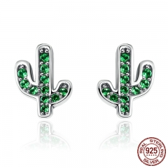 Hot Sale 925 Sterling Silver Dazzling Green Cactus Crystal Stud Earrings for Women Authentic Silver Jewelry Bijoux SCE097