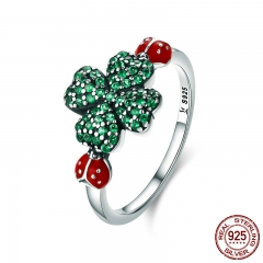 100% Authentic 925 Sterling Silver ladybug & Clover Flower Green CZ Crystal Ring for Women Sterling Silver Jewelry SCR309