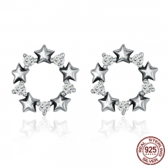 Hot Sale Genuine 925 Sterling Silver Stackable Star Stud Earrings for Women Sparkling CZ Authentic Silver Jewelry SCE185 EARR-0189