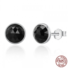 100% 925 Sterling Silver June Droplets Stud Earrings, Black Crystal Stud Earrings Women Sterling Silver Jewelry PAS523 EARR-0260