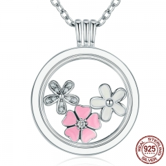 925 Sterling Silver Poetic Blooms, Mixed Enamels & Clear CZ Memories Floating Box Necklaces & Pendants Luxury Jewelry NECK-0066
