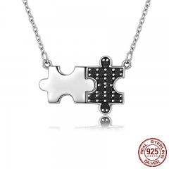 Authentic 925 Sterling Silver Black CZ & Mystery Puzzle Square Pendant Necklace Women Sterling Silver Jewelry SCN129