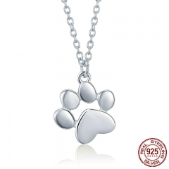 Genuine 925 Sterling Silver Cute Animal Footprints Dog Cat Footprints Necklaces Pendants Women Silver Jewelry SCN275-2