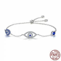 Hot Sale 100% 925 Sterling Silver Blue Eyes Link Women Bracelets for Women Sterling Silver Jewelry Making Gift SCB089