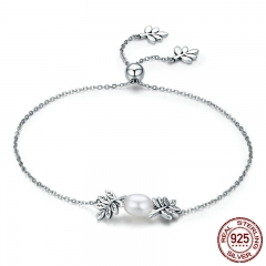 New Arrival 925 Sterling Silver Olive Leaves Tree Leaf Women Strand Bracelet for Women Sterling Silver Jewelry SCB071