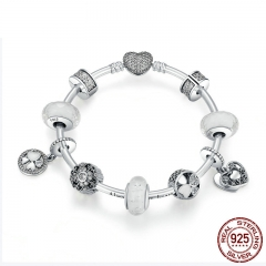 925 Sterling Silver Glittering Hope Petals Clover, Heart White Glass Beads Charm Bracelets Sterling Silver Jewelry PSB018