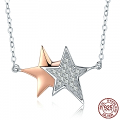 Authentic 925 Sterling Silver Luminous CZ Double Star Pendant Necklaces Women Sterling Silver Jewelry Gift S925 SCN270