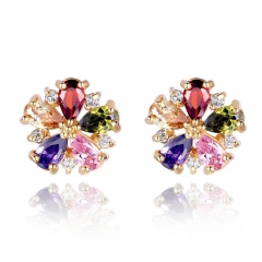 Gold Color Multicolor Flower Stud Earrings with Colorful Zircon For Girlfriend Gift Luxury Bijouterie JIE028 FASH-0019