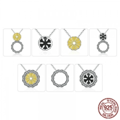 925 Sterling Silver Black Snowflake Yellow Flower DIY Pendants & Necklaces for Women Multifunctional Jewelry SCN058