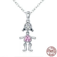 Fashion 100% 925 Sterling Silver Cute Little Girl Pink CZ Pendant Necklaces for Women Sterling Silver Jewelry SCN205