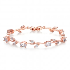 Rose Gold Color Leaf Chain & Link Bracelet with Clear AAA Zircon for Mother Gifts Jewelry JIB073