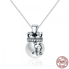 Real 925 Sterling Silver Crown of Frog Prince Imitation Pearl Pendant Necklace Women Sterling Silver Jewelry SCN198