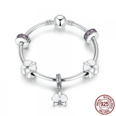 Authentic 925 Sterling Silver Orchid, White Enamel, Clear & Orchid CZ Charm Bracelets Sterling Silver Jewelry PSB012