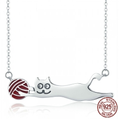 Authentic 100% 925 Sterling Silver Little Naughty Cat Long Pendant Necklace Women Sterling Silver Jewelry S925 SCN171