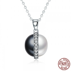 Real 925 Sterling Silver Black and White Dazzling Clear CZ Chain Pendant Necklace Women Sterling Silver Jewelry SCN199