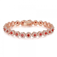 Hot Sale Red Stone Luxury Fashion Rose Gold Color Bracelets for Women Birthday Jewelry Wholesale JIB083