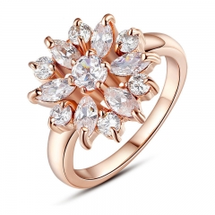 Rose Gold Color Finger Ring for Women with AAA Cubic Zircon Engagement Jewelry #6 7 8 9 JIR029