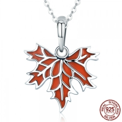 100% 925 Sterling Silver Autumn Maple Tree Leaves Pendant Necklace for Women Luxury Sterling Silver Jewelry Gift CC585