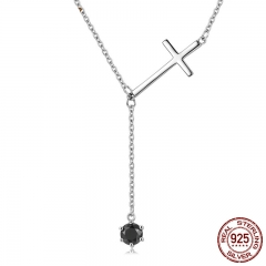 Genuine 925 Sterling Silver Faith Cross & Black CZ Tassel Long Necklace Women Authentic Sterling Silver Jewelry SCN131
