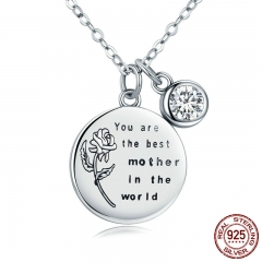 Genuine 925 Sterling Silver Best Mother Rose Flower Engrave Pendant Necklaces for Women Fine Jewelry Mom Gift SCN209