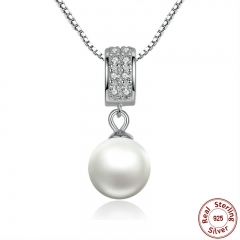 925 Sterling Silver Simulated Pearl Pendant Necklace Long Chain Necklace Jewelry Wedding Necklace Accessories SCN030 NECK-0011