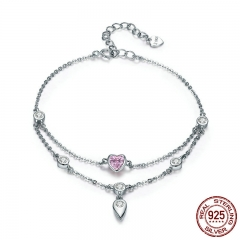 Romantic New 925 Sterling Silver Sweet Heart Pink CZ Double Layers Bracelets for Women Sterling Silver Jewelry SCB090
