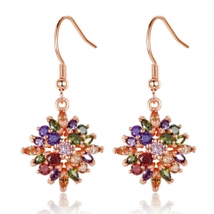 Rose Gold Color Flower Drop Earrings with Colorful Cubic Zircon For Women Brinco JIE036