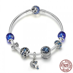 Authentic 925 Sterling Silver Sparkling Star and Moon Blue Enamel Bracelets & Bangles for Women Silver Jewelry SCB801