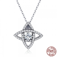 High Quality 925 Sterling Silver Sparkling Crystal Geometric Pendant Necklaces Women Sterling Silver Jewelry SCN261