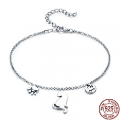Hot Sale 100% 925 Sterling Silver Naughty Cat Pet Footprints Chain Women Bracelet Sterling Silver Jewelry Gift SCB070