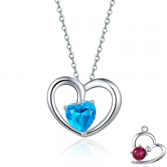 Romantic 925 Sterling Silver Heart Pave Blue Crystal CZ Necklaces Pendants for Women Fashion Necklace Jewelry Gift SCN277