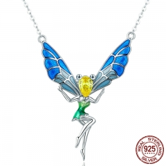 Romantic Authentic 925 Sterling Silver Lovely Fairy Crystal Pendant Necklaces for Women Sterling Silver Jewelry SCN253
