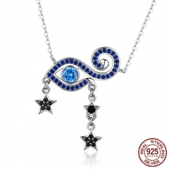 Hot Sale 100% 925 Sterling Silver Lucky Blue Eyes Star Dangle Pendant Necklaces Women Sterling Silver Jewelry SCN245