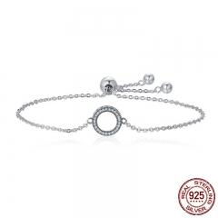 Trendy 925 Sterling Silver Glittering Round Circle Chain Link Strand Bracelets for Women Sterling Silver Jewelry SCB030
