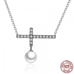 Vintage 925 Sterling Silver 45 CM Link Chain Fashion Cross Pendant Necklace For Women Jewelry SCN062