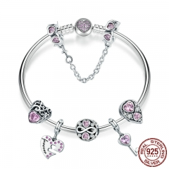 100% 925 Sterling Silver Romantic Love Pink CZ Infinity Girlfriend Bracelets & Bangles for Women Silver Jewelry SCB811