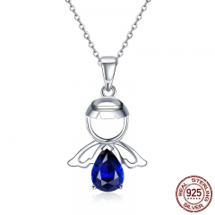 Real 100% 925 Sterling Silver Lovely Angel Guardian Pendant Necklaces Blue CZ Necklace For Women Silver Jewelry SCN293