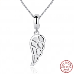 Classic 925 Sterling Silver Angle Wings Feather Charms Pendant Necklace Women Wedding Fine Jewelry CC032