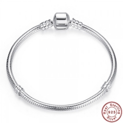 Authentic 100% 925 Sterling Silver Snake Chain Bangle & Bracelet Luxury Jewelry 17-20CM PAS902