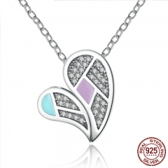 New Collection Genuine 100% 925 Sterling Silver Colourful Love Heart Forever Necklaces & Pendants Jewelry SCN064
