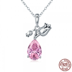 100% 925 Sterling Silver Romantic Rose Flower Pink Water Drop CZ Long Chain Women Pendant Necklace Silver Jewelry SCN201