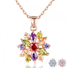 Rose Gold Color Necklaces Pendants with Multi Color AAA Cubic Zircon For Women Christmas Gift JIN029