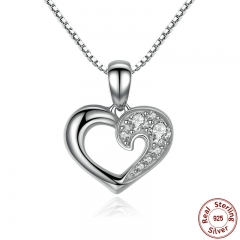 925 Sterling Silver Romantic Silver Heart Pendant Necklace for Women Good Quality Fine Jewelry Kolye SCN028 NECK-0009